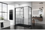 Panel - Walk-in Novellini Kuadra H Black 90 cm, profil black, glass transparent, wzór square