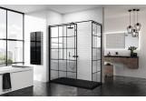 Panel - Walk-in Novellini Kuadra H Black 120 cm, profil black, glass transparent, wzór square