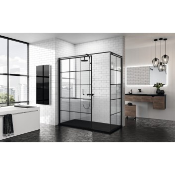 Side panel - Walk-in Novellini Kuadra H 80 cm, profil black, glass transparent, wzór square- sanitbuy.pl
