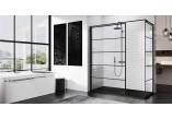 Panel - Walk-in Novellini Kuadra H Black 140 cm, profil black, glass transparent, wzór pasy