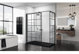 Panel - Walk-in Novellini Kuadra H Black 120 cm, profil black, glass transparent, wzór square