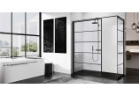 Panel - Walk-in Novellini Kuadra H Black 140 cm, profil black, glass transparent, wzór pasy